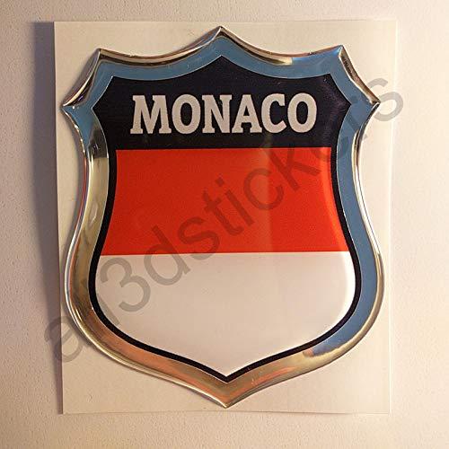 All3DStickers Sticker Monaco Resin 3D Emblem Monaco Domed Flag
