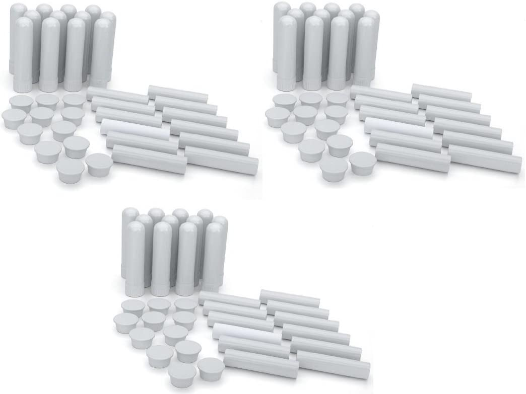 Essential Oil Aromatherapy Blank Nasal Inhaler Tubes 40 Complete Sticks , Empty White Nasal Inhalers for Essential Oil, Treat Breathing Problems Naturally, Refillable