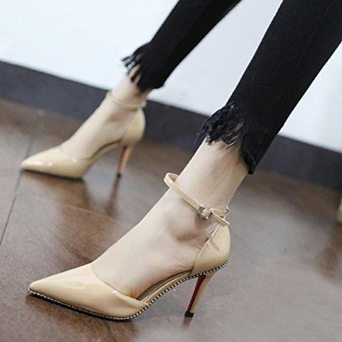 Xue Qiqi Court Schuhe Stilvolle roh Farbe fein mit einzelnen Schuhe Schuhe einzelnen geschlitzten Schelleisen licht Düsenspitze und vielseitige Karriere hochhackigen Schuhe Frauen Schuhe, 39, Beige - a3f056