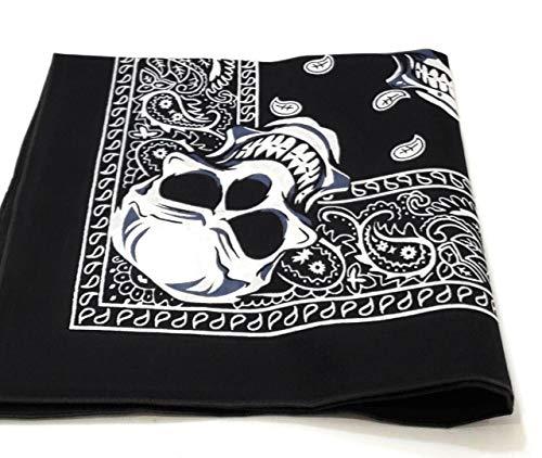 1 Dozen Paisley Bandanas 100% Cotton Double Sided Scarf (Many Colors) by M.H.I. (Paisley Skull) -
