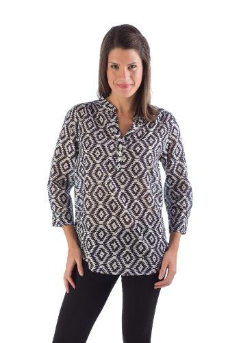 (MLT386 Extra Large Black Aztec Martha Tunic. 100% Organic Cotton. Hand Block Printed.)