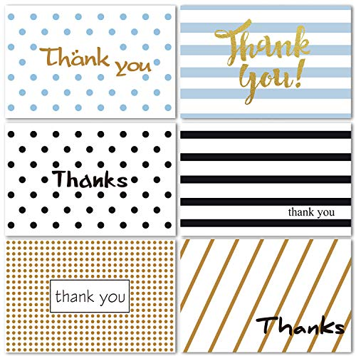 48 Folded Thank You Cards of Ohuhu, Thank U Cards of 6 Designs Greeting Cards with 48 Envelopes and Stickers for Wedding, Baby Shower, Business, Anniversary, Blank Insides Note Cards, 4 x 6 Inch
