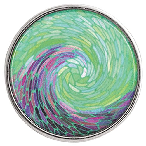 (Chunk Snap Charm Sea Wave Green Purple Blue 20mm 3/4