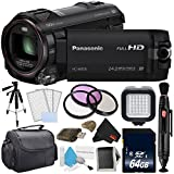 Panasonic HC-W850 Twin Camera Full HD Camcorder Bundle with Carrying Case + 32GB Memory Card + Tripod + More