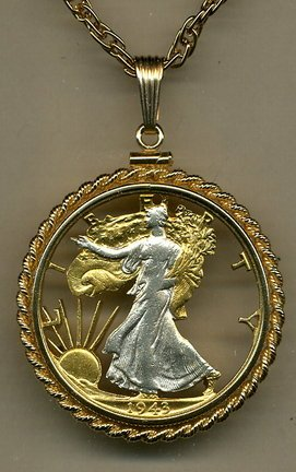 Dollar Gold Coin Pendant (U.S. Walking Liberty Half Dollar Two Tone Coin Cut Out Pendant with 24