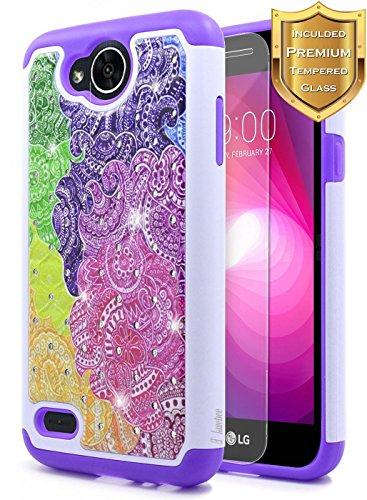 LG X Charge Case(M322), LG Fiesta LTE Case(L63BL), LG X Power 2 Case(M320), LG Fiesta 2 Case(L163BL) with [Tempered Glass Screen Protector], NageBee Hybrid Studded Rhinestone Bling Case (Rainbow)