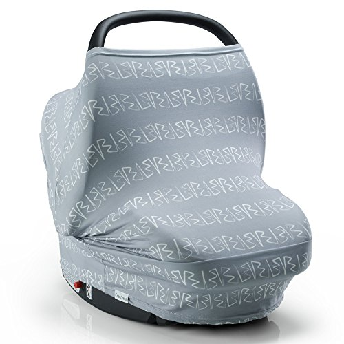 Nursing Scarf Breastfeeding Cover, 4 in 1 Stretchy Carseat Canopy | Certified BPA Free Nursing Cover, Multi Use Baby Car Seat Canopy, Shopping Cart, Stroller Cover, Infinity White Brushstrokes on Grey