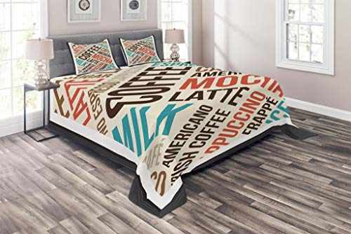 Espresso Poster Bed - Lunarable Coffee Coverlet Set King Size, Cappuccino Espresso Mocha Typography in Poster Style Refreshment Artwork Print, 3 Piece Decorative Quilted Bedspread Set with 2 Pillow Shams, Brown Teal Red