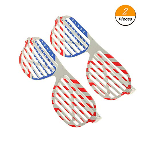 Cianowegy American Flag Plastic Shutter Shades Sunglasses Novelty Photo Props USA Patriotic Glasses Eyewear for Party Favor Decoration (2 Pack)