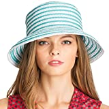 Eric Javits Luxury Fashion Designer Women's Headwear Hat - Braid Dame - Turquoise