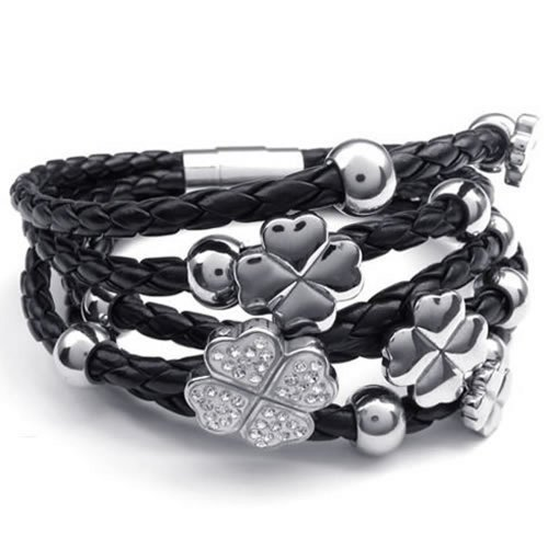KONOV Stainless Steel Clover Charms Braided Leather Womens Bracelet, Silver Black