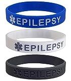 3 Pack - EPILEPSY Medical Alert ID Silicone