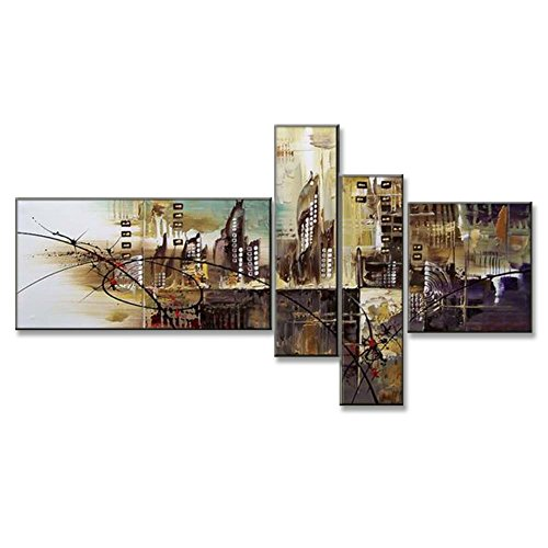Hand Painted Split Canvas Paintings Unframed 4 Pieces - 76X40 inch (193X102 cm) for Living Room Bedroom Dining Room Wall Decor To DIY Frame Home Decoration - Diamond City Abstract by Neron Art by Neron Art