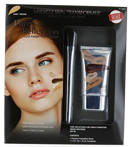 Miracle Skin Transformer Pure Reflection Fluid Finish Foundation SPF 40, 1.2 FL + GIFT Precision Foundation Brush