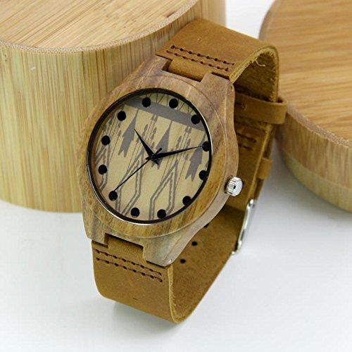 Huanxi Mens Wood Watch,Watch for women Green Maple Wood with Quartz Movement Brown Leather Strap Lightweight Handmade Wood Wrist Watch