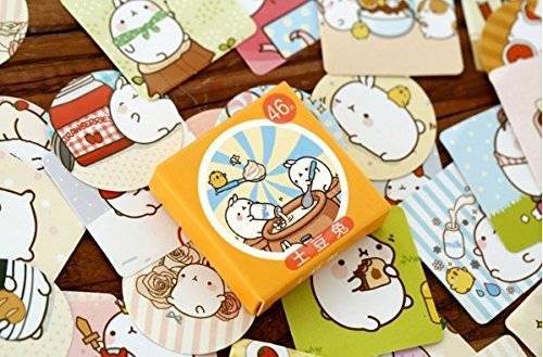 "2 Pack of 46 Pcs Lovely Cute ""Molang Rabbit"" Calendar Diary Book Envelope Label Sticker Scrapbook Decoration Sticker Photo #1"