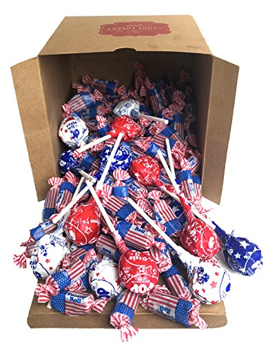 Patriotic American Flag Tootsie Roll Midgees and Red, White and Blue Tootsie Pops - Candy Lovers Shop Candy Cube Bulk Box Mix (3 Pounds)