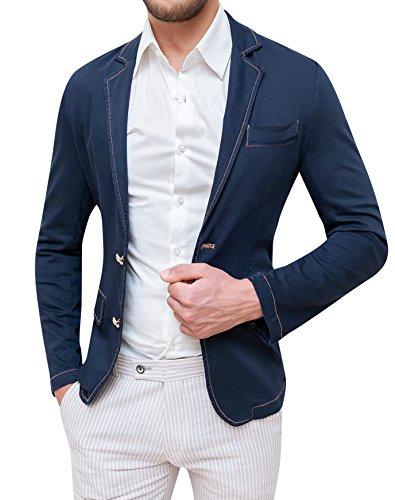 Giacca Uomo Fit Slim Cotone Scuro Elegante Casual Blu w1Z44F In XqFOPBwI