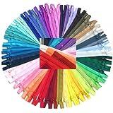 ZipperStop Wholesale Authorized Distributor YKK® #3 Skirt & Dress Zippers 22 Inch ~ Assortment of Colors (25 Zippers) + Piece of Custom Zipperstop Ribbon