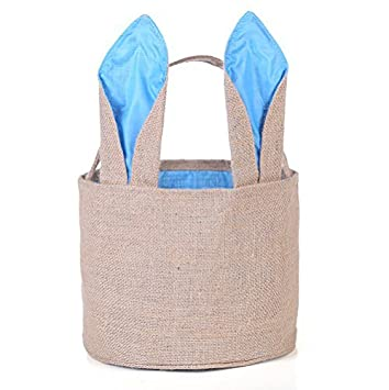 Amazon easter egg basket for kids bunny burlap bag to easter egg basket for kids bunny burlap bag to carry eggs candy and gifts blue negle Gallery