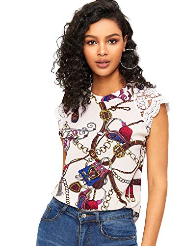 WDIRARA Women's Cut Out Back Contrast Lace Cap Sleeve Chain Print Blouse Top Multicolor M