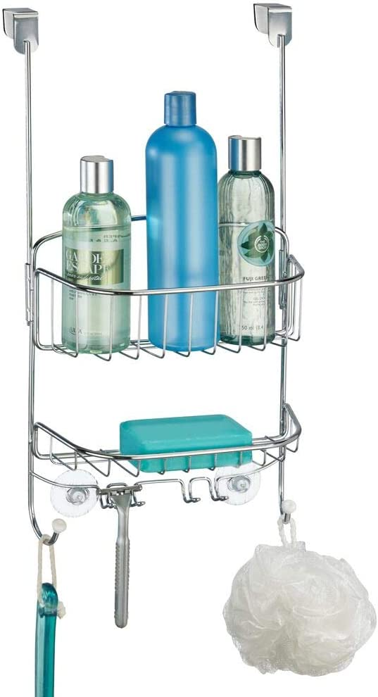 mDesign Modern Metal Wire Over The Bathroom Shower Door Caddy, Hanging Storage Organizer Center with Built-in Hooks and Baskets for Stall/Tub, Holds Shampoo, Body Wash, Loofahs, Razors - Chrome/White