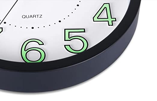 Reloj de pared luminoso, Foxtop Reloj de pared silencioso de la luz de la noche, 30 cm , Negro: Amazon.es: Hogar