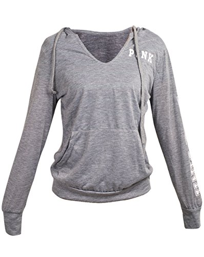 Caat Aycox Women's V-Neck Long Sleeve Pink Letters Printed Pullover Hoodies(Grey S)