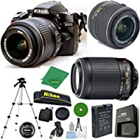 D3200 24.2 MP CMOS Digital SLR, NIKKOR 18-55mm f/3.5-5.6 Auto Focus-S DX VR, 55-200mm f4-5.6G VR Nikkor, Tripod, 6pc Cleaning Set