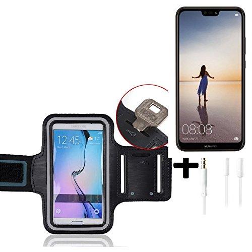 con riflettore con lassunzione compatibile con Huawei P20 Lite Single-SIM Montare neoprene bracciale Jogging Case Sport Armband involucro compatibile con Huawei P20 Lite Single-SIM nero cuffie