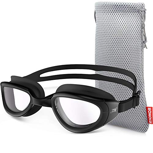 ZIONOR Swimming Goggles, G6 Non Polarized Swim Goggles UV Protection Watertight Anti-Fog Adjustable Strap Comfort fit for Unisex Adult Men and Women (Non-Polarized Clear Lens Black Frame)