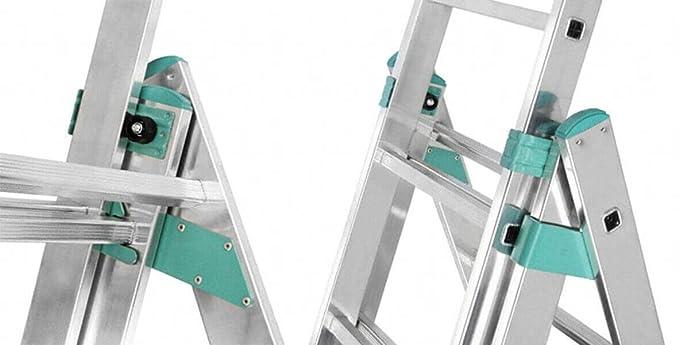 Echelle transformable aluminium 3 plans dont 1 d/étachable avec fonction rattrapage de niveau