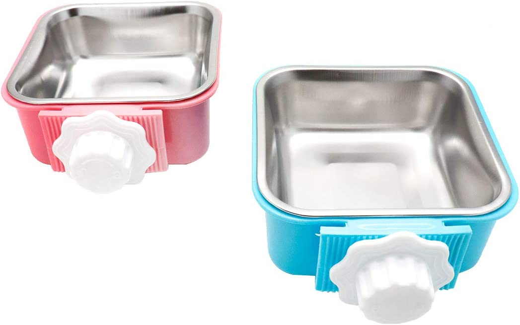 FarBoat Cat Bowl Pet Dogs Food Water Bowl Baking Finish Stainless Steel Non-Slip Rubber Base Feeding Dish for Puppy Kitty Rabbit