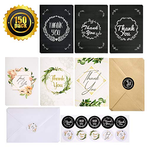 【150 Pack】Thank You Cards with Envelopes Stickers Bulk 6 Design of Thank You Greeting Note Card with Envelopes and Stickers for Wedding Graduation Business Baby Shower Blank Inside 4 x 6 Inch