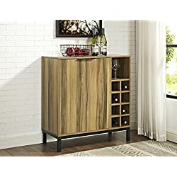 """WE Furniture Bar Cabinet with Wine Storage in Teak - 34"""""""