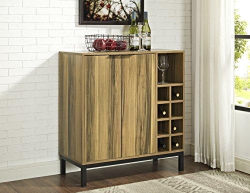 WE Furniture Bar Cabinet with Wine Storage in Teak - 34'' by WE Furniture