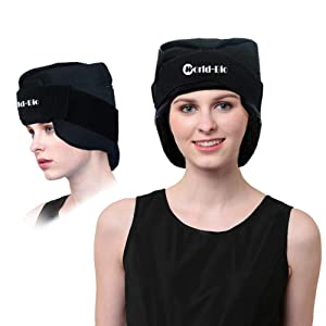 Migraine Gel Head and Neck Ice Hat, Flexible & Reusable Headache Ice Pack and Wearable Cold Therapy Wrap for Tension, Sinus, Pressure Pain Relief, Stress Reliever - Freezable & Microwavable
