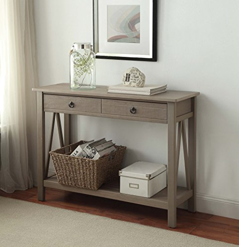 Linon 86152GRY01U Titian Rustic Gray Console Table 42 W x 13.98 D X 30.7 H Driftwood