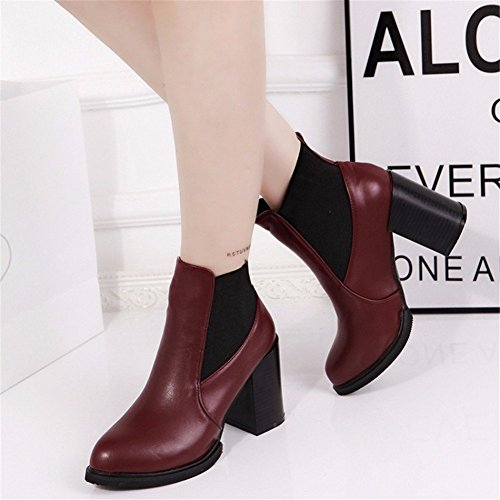 and Pointed Shoes Boots Platforms Boots Martin 37 Boots DIDIDD High Short Eu Women'S Waterproof Ankle Heeled RxySPwq