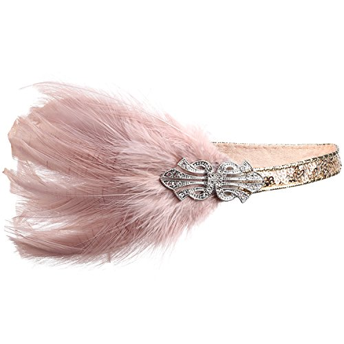 Pink Feather Headpiece (BABEYOND 1920s Flapper Headpiece Roaring 20s Feather Headband Gatsby)