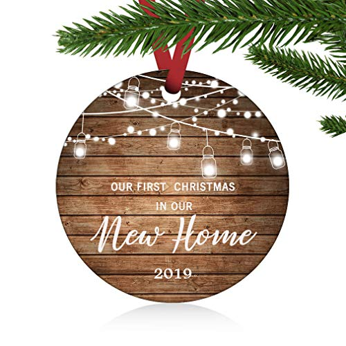 "ZUNON 2019 Our First Christmas New Home Married Wedding Decoration 3"" Ornament (New Home Ornament)"