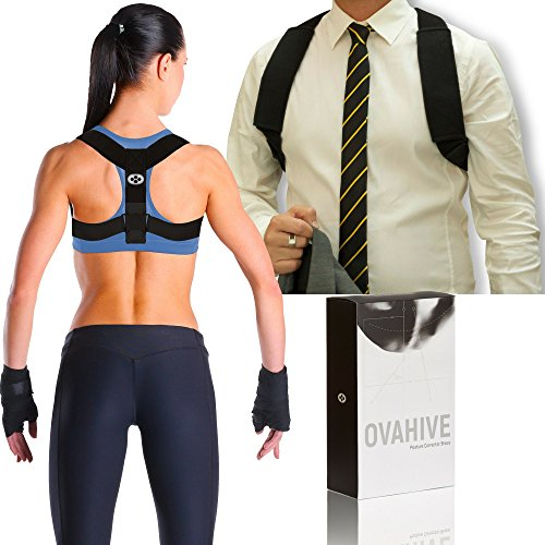 Comfortable Posture Corrector for Women and Men - Enhanced Comfort Sleeves - Adjustable Upper Back Shoulder Posture Corrector Clavicle Support Brace by Ovahive (Small/Medium)