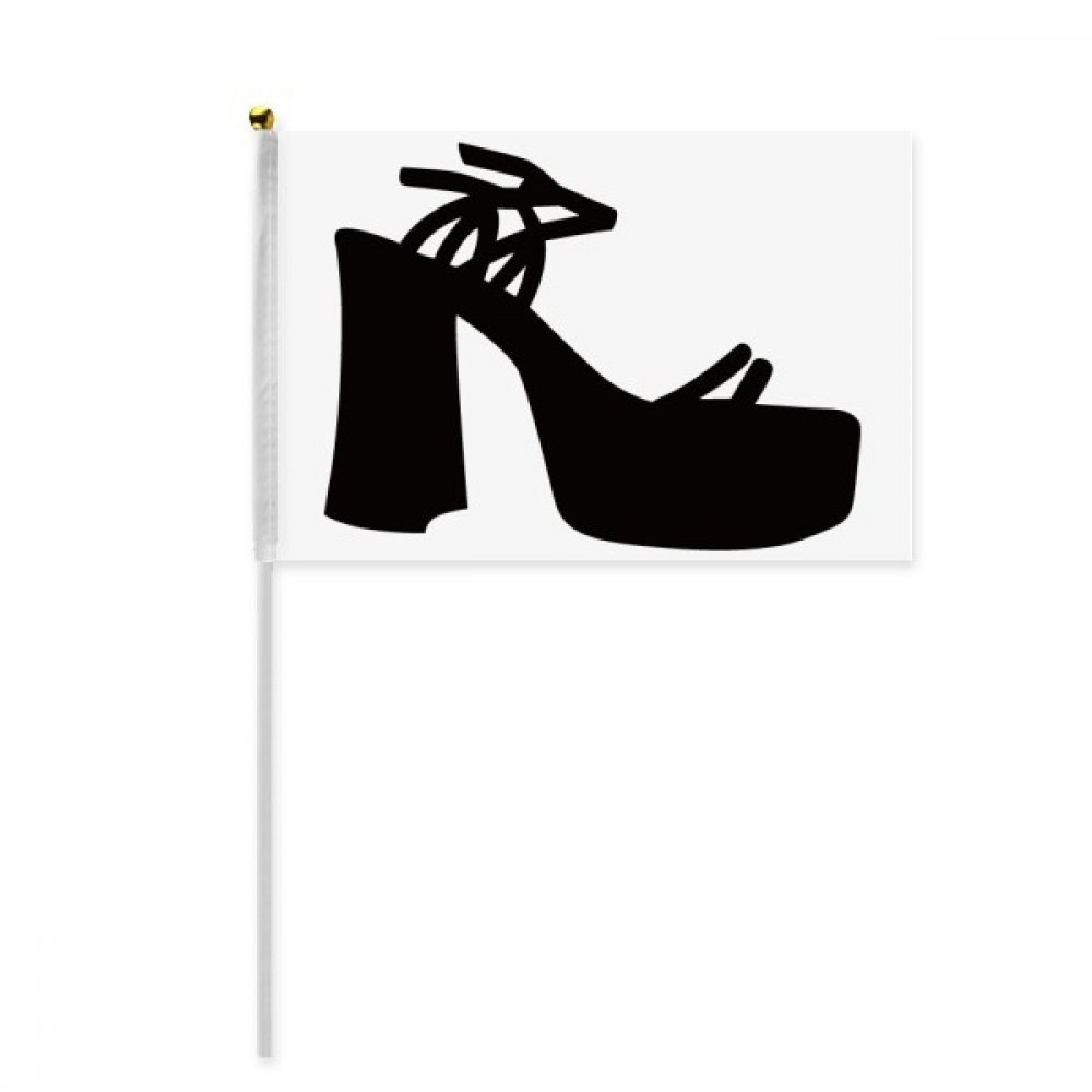 Black Women's High Heels Silhouette Pattern Hand Waving Flag 8x5 inch Polyester Sport Event Procession Parade 4pcs