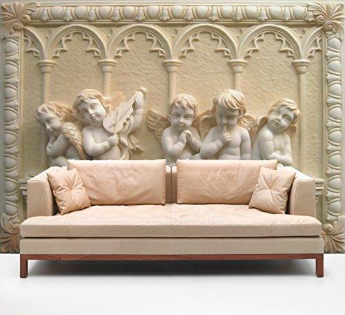 "3D Cute Angel Baby Sculpture 7 Wall Paper Print Decal Deco Indoor Wall Mural Self-Adhesive Wallpaper AJ Wallpaper US Carly (Vinyl (No Glue & Removable), 【 82""x58""】 208x146cm ()"
