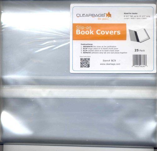 Adjustable Slip-on Book Covers Pack of 25 (8.5 X 15) (Clear)