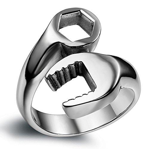 Flongo Stainless Steel Spanner Mechanic Wrench Tool Polished Men Biker Ring Band, Size V