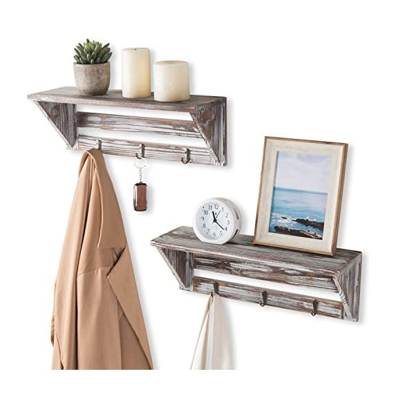 MyGift Farmhouse Style Torched Wood Wall- Mounted Shelf Display Rack with 3 Key Hooks, Set of 2, Brown - A decorative country farm style torched wood floating shelves with 3 key hooks. Features a set of 2 shelves with a rectangular slatted wooden design and weathered rustic torched wood finish. Ideal for displaying a variety of collectibles, plants, books and more. The 3 hooks are perfect for hanging keys, lanyard, light coats and hats. - wall-shelves, living-room-furniture, living-room - 51dccNLp1qL. SS570  -