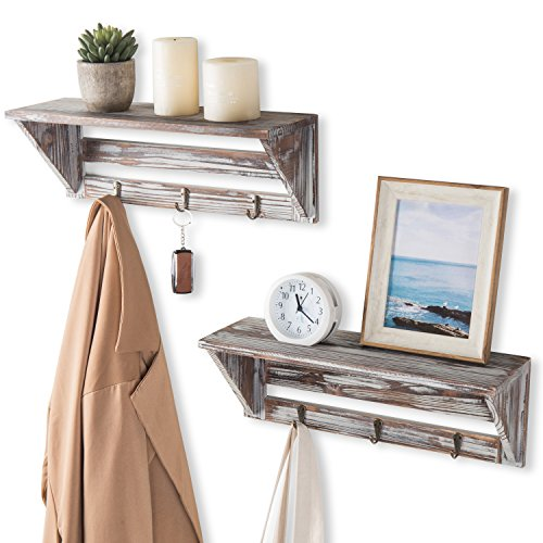 MyGift Farmhouse Style Torched Wood Wall Mounted Shelf Display Rack with 3 Key Hooks Set of 2 Brown