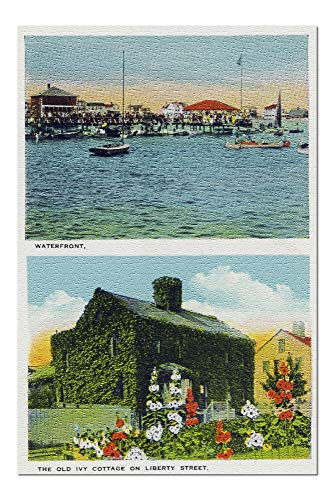 (Nantucket, Massachusetts - View of Waterfront, Old Ivy Cottage on Liberty St (20x30 Premium 1000 Piece Jigsaw Puzzle, Made in USA!))