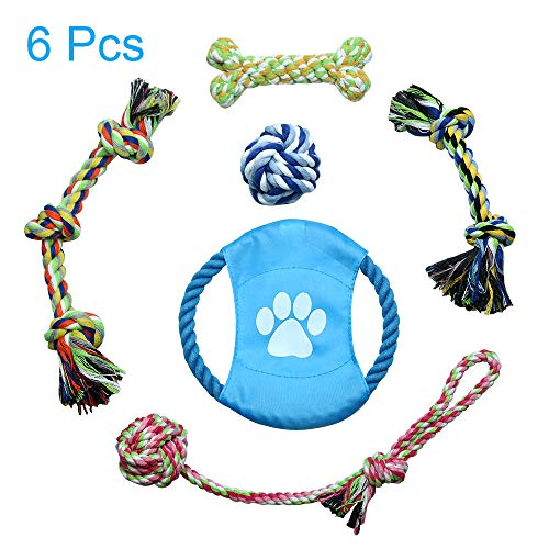 Color You Dog Rope Toys, Dog Chew Toys & Puppy Toys Set Non Toxic Puppies Teeth Cleaning Durable Cotton Braided Pet Exercise Training Game for Small/Medium Dog or Cat(Set of 6)